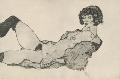 "Egon Schiele, '""Reclining Nude w/Green Stockings"", Zeichnungen (plate XI)', 1917"