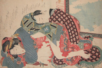 Keisai Eisen, 'Young Girl and Her Lover on New Years Day', ca. 1835