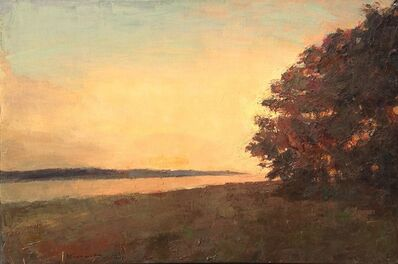Larry Horowitz, '''Bend in the Trail Sepia'' Oil painting of landscape with tree in the corner with yellow and orange sunset', 2019