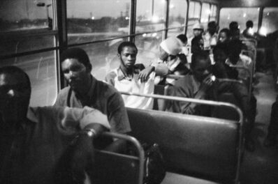 David Goldblatt, '7:00 p.m. Going home: Pulling out of Pretoria. The 7:00 p.m. bus from Marabastad to Waterval in KwaNdebele', 1983
