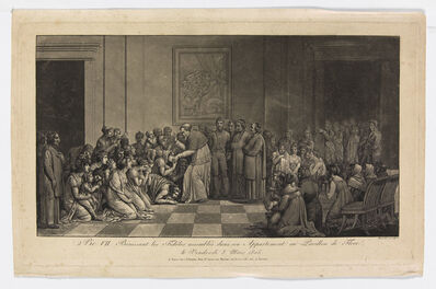 Jean Henri Marlet, 'Pie VII Bénissant les Fidèles assemblés dans son Appartement au Pavillon de Flore / le Vendredi 8 mars 1805 (Pius VII blessing the faithful assembled in his apartment at the Pavillion de Flore, Friday, March 8, 1805)', 1805