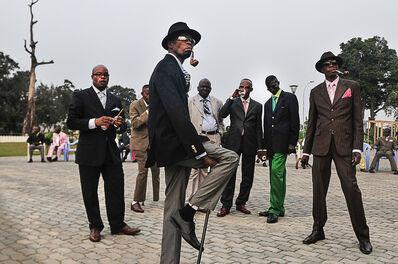 Daniele Tamagni, 'Sapeurs posing in front of Memorial Savorgnan de Brazz, Brazzaville', 2008