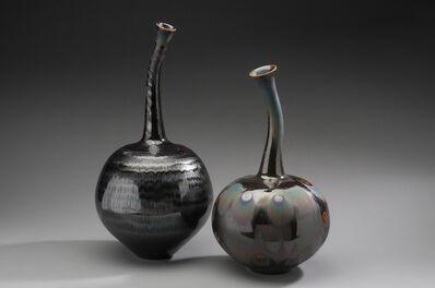 Hideaki Miyamura, 'Pair of twin vases, blue wave and peacock glazes', 2019