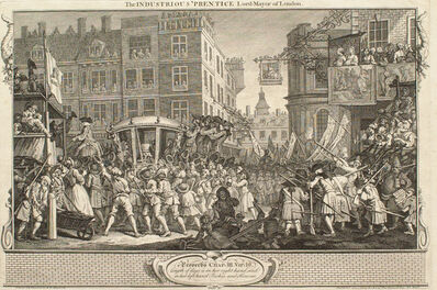 William Hogarth, 'Industry and Idleness, Plate 12: The Industrious 'Prentice Lord Mayor of London', 1747
