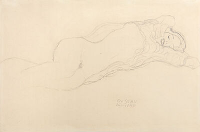 """Gustav Klimt, 'Reclining semi-nude to the right, Study for """"The Bride""""', 1917-1918"""