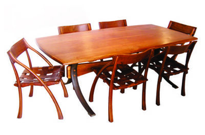 "Arthur Espenet Carpenter, 'Chi Table shown with 6 ""Wishbone"" chairs signed ESPENET '70', 1969-1970"
