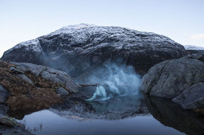 Isabelle & Alexis, 'Hordaland - Before dawn on a glacier in Norway, a morning blue rising from a pond', 2014