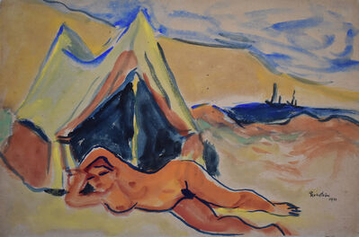 Max Pechstein, 'Reclining Nude on the Beach | Liegender Akt am Strand', 1911
