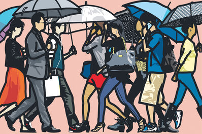 "Julian Opie, '""Walking in the rain, Seoul"" from ""Walking in the rain""', 2015"