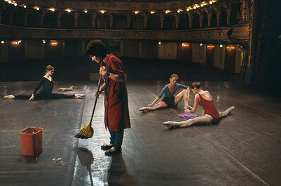 Steve McCurry, 'Man sweeps on stage while ballerinas stretch, National Ballet, Zagreb, Croatia', 1989