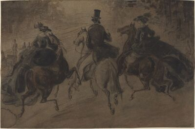Constantin Guys, 'Cavalier and Two Ladies on Horseback'