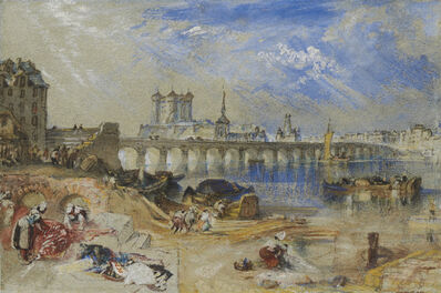 J. M. W. Turner, 'Saumur from the Île d'Offart, with the Pont Cessart and the Château in the Distance', ca. 1830