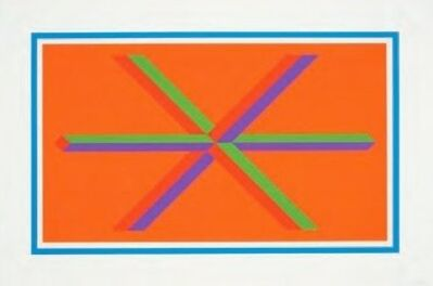 Sol LeWitt, 'Isometric Figures in Five and Six Colors Series (blue border)', 2002