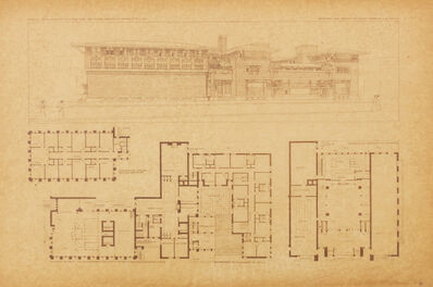 Frank Lloyd Wright, 'Bank and office building for the City National Bank, Mason City, IA; Plate LI from the Wasmuth Portfolio', 1910