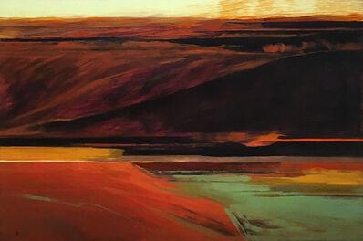 Harold Joiner, 'Thunderbird Mountain - abstract landscape, red, dark, mountains, mesa, southwest, gold, orange, earth tones', 2019