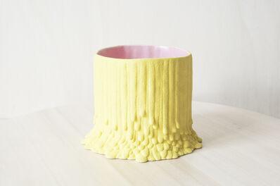 Cécile Bichon, 'Cache-pot souche basaltique jaune sablé au cœur rose ', 2019