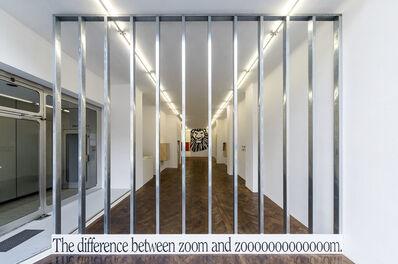 Haim Steinbach, 'Display #91 – the difference between zoom and zooooooooooooom', 2018