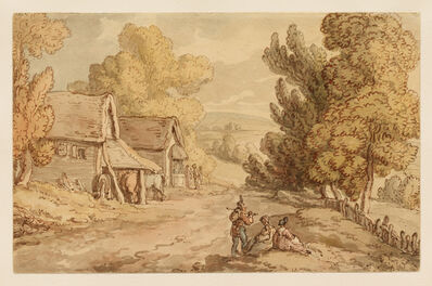 Thomas Rowlandson, 'Cottage and Barn with Figures Resting by the Side of a Country Road', 1810-1820