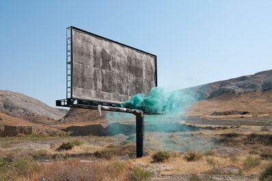 Isabelle & Alexis, 'Anatolia - Green smoke bomb in front of a billboard ', 2013