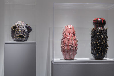 King Houndekpinkou, 'Installation shot (l to r): Sak(r)é Voudou (Sacred Voodoo), Gestation no.1, and The Black Widow', 2016