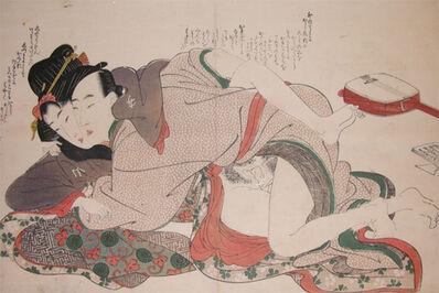 Kikukawa Eizan, 'First Time: Young Girl and Her Music Teacher', ca. 1820