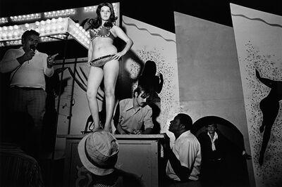 Susan Meiselas, 'Lena on the Bally Box, Essex Junction, Vermont', 1973