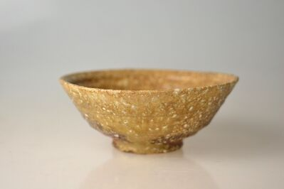 Takahashi Rakusai IV, 'Flat Shigaraki Tea Bowl, Summr Chawan with Excellent Stone Flowering', 20th Century