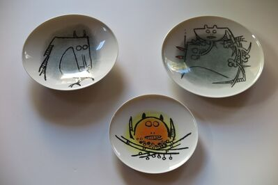 "Wifredo Lam, 'Albisola Ceramics - set of three plates, 7"" and 9""', 1970"