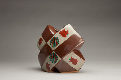 Tomoo Hamada, 'Cross vase, kaki glaze with akae decoration', 2018