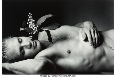 Duane Michals, 'Young Men Dream in the Garden of the Dead with Flowers Growing from Their Heads', 1995