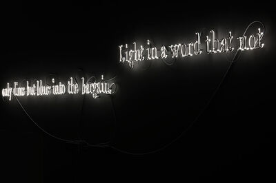 Joseph Kosuth, ''Texts for Nothing #7' (Leggi: Light in a word that not only dims but blurs into the bargain./Insomma un'illuminazione che oscura e offusca per giunta.)', 2010