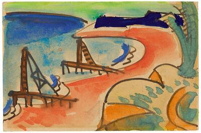 Karl Schmidt-Rottluff, 'Buhnen am Jershöfter Strand', 1921
