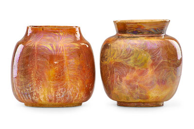 Theophilus A. Brouwer, 'Two flame-painted vases', 1900s