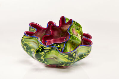 Dale Chihuly, 'Lotus Pink Pheasant Macchia Set with Blue Water Lip Wraps', 2002