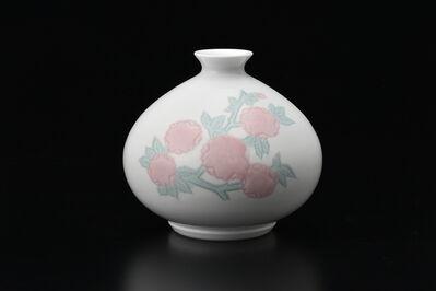Manji Inoue, 'Engraved Hakuji (white porcelain) Cherry Blossom Vase with Green Glaze', 2019