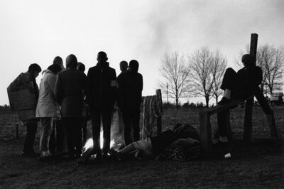 Charles Moore, 'Hard-core marchers huddle by an early morning fire. Some three hundred went the entire distance, camping by the road. Other marchers returned to their homes at night or slept in motels', 1965