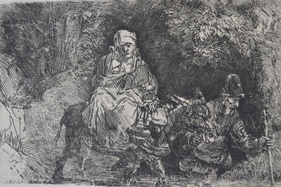 Rembrandt van Rijn, 'The Flight into Egypt: Crossing a Brook ', Etched in 1654, Printed in 1906 (Beaumont, Paris)