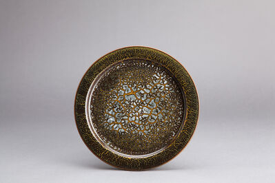 Brother Thomas Bezanson, 'Decorative plate, textured black and yellow iron glaze'