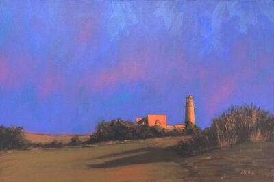 "Robert Cardinal, '""Highland Light"" oil painting of a Cape Cod lighthouse with violet and red sky', 2003-2006"