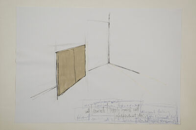 Peter Welz, 'Study | Line | vanishing | disappearing | breathe | aspirate | onto fake concrete wall | leaning ', 2004
