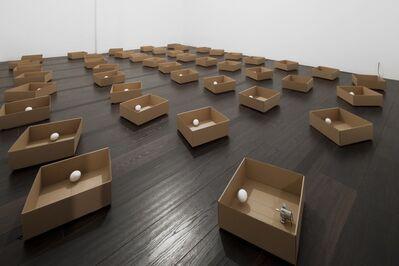 Zimoun, '45 prepared DC motors, cotton balls, cardboard boxes 23 x 23 x 9 cm', 2011