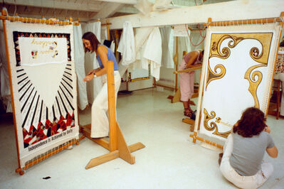 "Judy Chicago, '""The Dinner Party"" Needlework Loft', 1977"