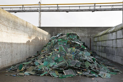 Paul Bulteel, 'Recovered circuit boards. The finely shredded circuit board are melted in an oven in which the plastic carrier of the circuit boards contributes to the fuel. After a number of processes, metals such as gold, silver, platinum, lead, copper, tin, nickel, and tellurium are recovered.'