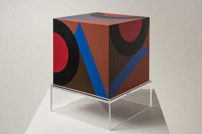 Karl Benjamin, 'untitled cube (brown background VC)', 1984