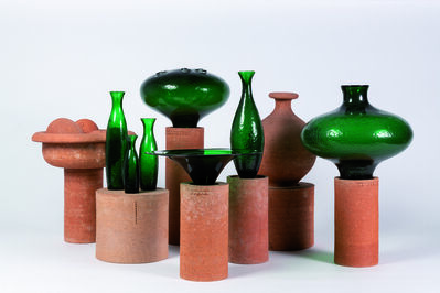 "Matteo Thun, 'Serie of seven ""Terre Cotte"" vases in glass', 1996"