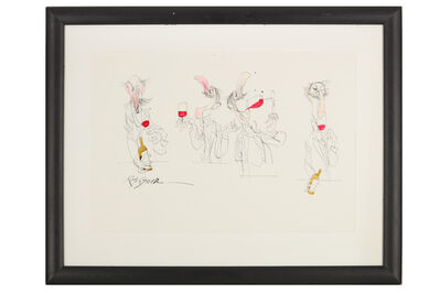 Ralph Steadman, 'Four Wine Tasters'