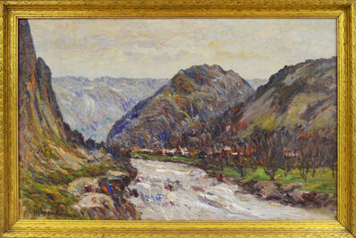 Lewis Henry Meakin, 'Mountain Scene with River'