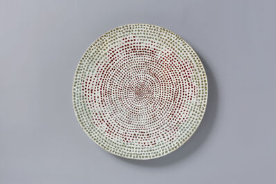 Huh Sangwook, 'Buncheong Staccato Wall-mountable Piece with Red Flower Design'