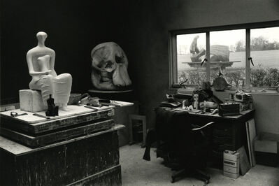 André Kertész, 'Henry Moore's Studio with Elephant Skull and seated Figure, England, 1980', 1980
