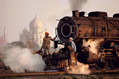 Steve McCurry, 'TAJ AND TRAIN, AGRA, INDIA', 1983